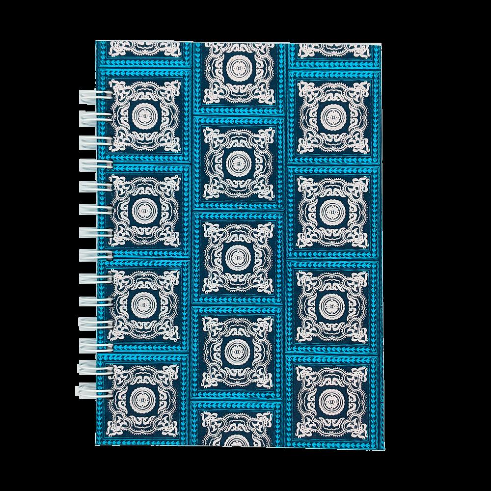 Cuaderno artesanal con espiral azules