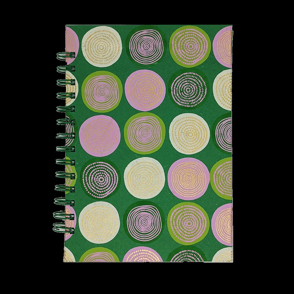 Cuaderno artesanal con espiral verde