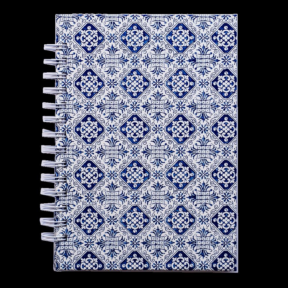 Cuaderno artesanal con espiral azul y blanco